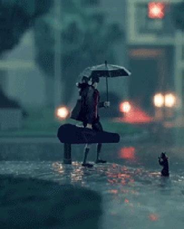 Анимация Девушка и черная кошка на вечерней улице города под дождем