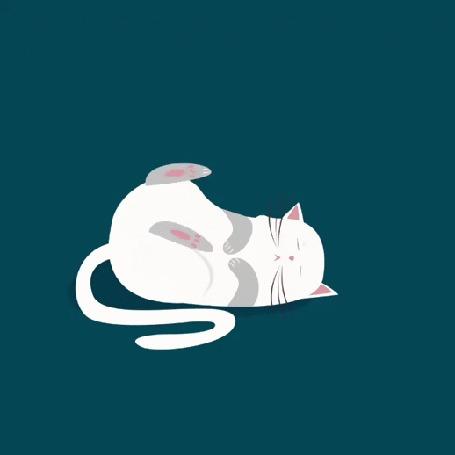 Анимация Спящий кот реагирует на катящийся клубок ниток, by Angelique Rubin