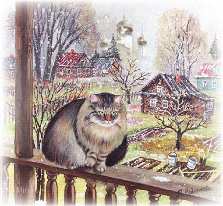 Анимация Серая кошка сидит на веранде на фоне падающего снега, деревьев и домов, рисунок Т. Родионовой, by Mira