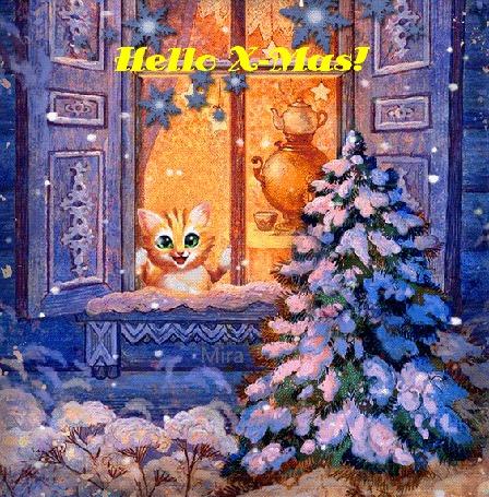 Анимация Рыжая кошка выглядывает в окно на фоне новогодней елки, падающего снега и самовара, виднеющегося в комнате, (Hello X-Mas! ), by Mira