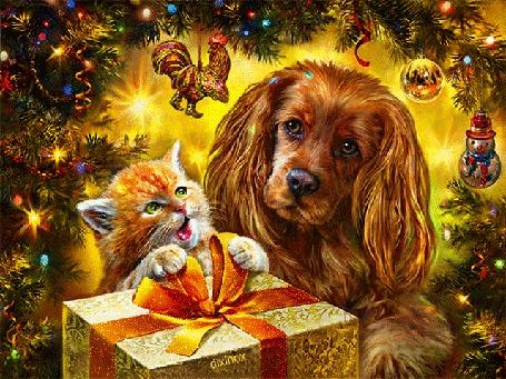 Анимация Рыжий кот и собака держат подарок в лапах на фоне новогодних ветвей елки с игрушками, by Dixinox