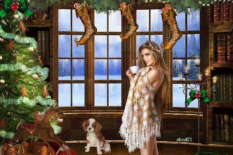 Анимация Девушка с длинными волосами прикрытая платком держит в руке чашку с чаем на фоне окна, развешанных сапожков, Новогодней елки игрушечной лошадки и собаки, by abcd21