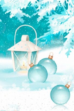 Анимация Фонарь и елочные шары на фоне снежинок и заснеженных веток, by Kolibri