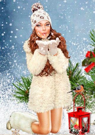 Анимация Девушка с длинными волосами в белой шубке на фоне новогоднего фонаря, синицы и елочных веток,