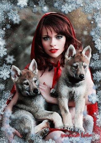 Анимация Девушка с длинными волосами в красной накидке с капюшоном держит на коленях щенков овчарки на фоне снежинок, by анимация Lush