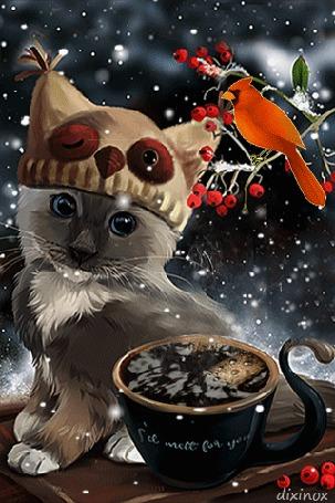 Анимация Серый котенок в шапке с ушками на фоне чашки кофе, птицы кардинала и ягод рябины, by dixinox