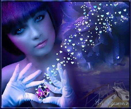 Анимация Девушка с темными волосами, голубыми глазами в белых перчатках держит в руках сиреневый камень на фоне сердечек, by Св. Чужая