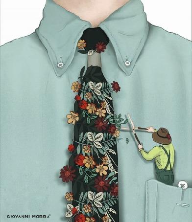Анимация Мужчина, сидящий в кармане рубашки, срезает цветы с галстука, by Glovanni Morra