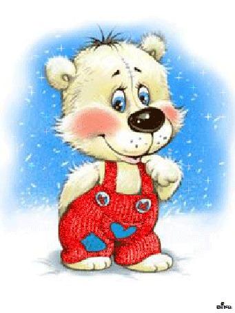Анимация Белый медвежонок в красном комбинезоне