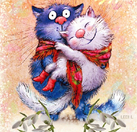 Анимация Синий кот держит в лапах белую кошку, by LEDI L
