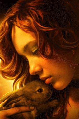 Анимация Девушка с темно-рыжими волосами прижимает к себе зайчонка