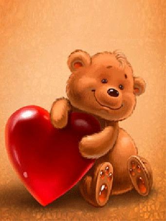 Анимация Медвежонок с большим красным сердечком