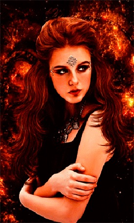 Анимация Девушка с темно-рыжими волосами в черной одежде