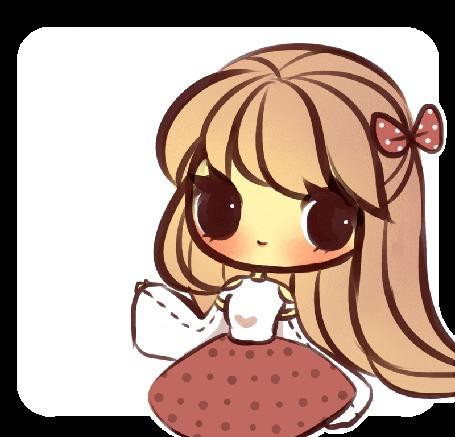 Анимация Длинноволосый чибик с бантиком (Hello / Привет), by mochatchi