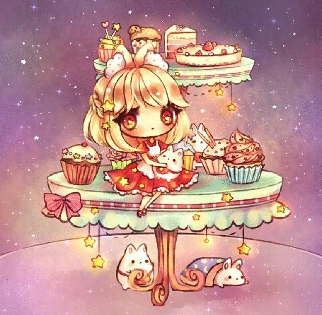 Анимация Чибик на столе среди пироженок, by mochatchi