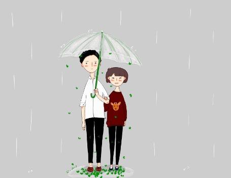 Анимация Молодые люди под дождем и падающими листьями