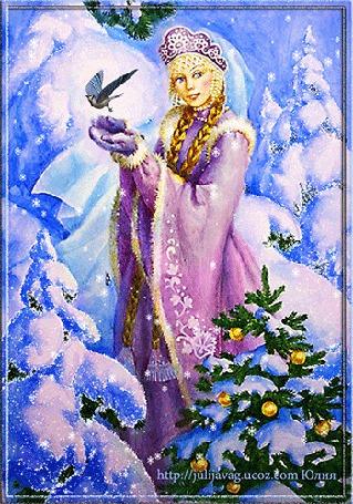 Анимация Девушка в короне, с волосами заплетенными в косы держит в куках птицу на фоне заснеженных елок и новогодней наряженной елки, by Юлия