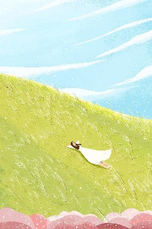 Анимация Девушка в белом платье лежит на зеленом холме