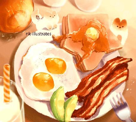 Анимация Две лисички у тарелке с глазуньей, беконом и блинчиками, by nk-illustrates