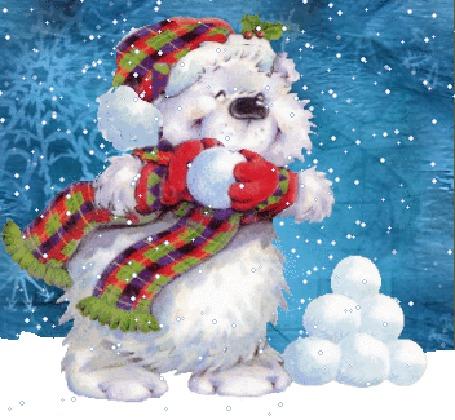 Анимация Белый медвежонок в шапке и шарфе лепит снежки