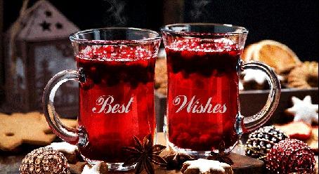 Анимация Две кружки с горячим чаем, елочные игрушки и печенье (Best Wishes)