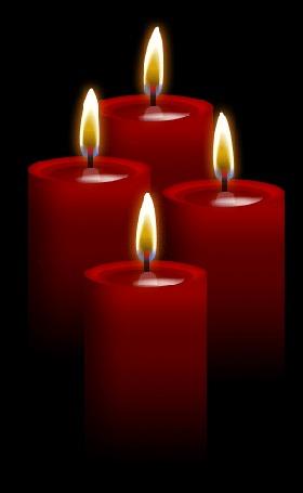 Анимация Красные свечи на черном фоне