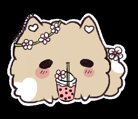 Анимация Щеночек пьющий чай с пузырьками, by mochatchi