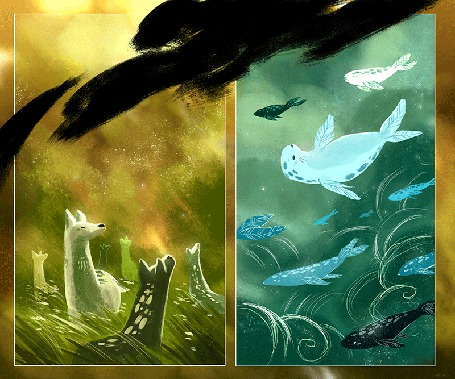 Анимация Окапи в траве, морские котики и киты под водой, by nk-illustrates