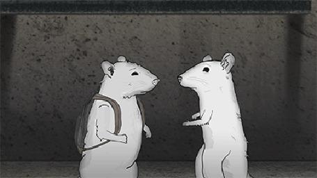 Анимация Две крысы обнимаются