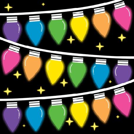 Анимация Новогодняя гирлянда на серном фоне