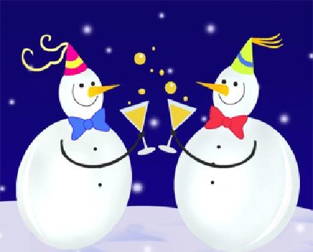 Анимация Два снеговика пьют шампанское в бокалах