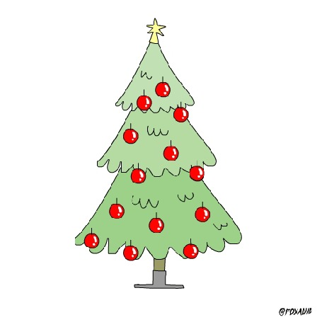 Анимация Кот снимает игрушки с елки, by FOXADHD