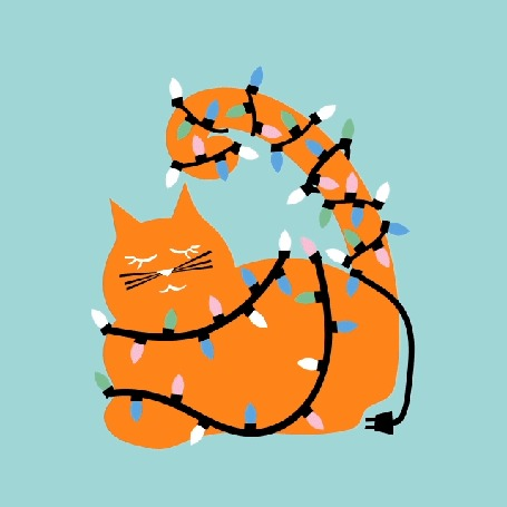 Анимация Рыжий кот в новогодней гирлянде