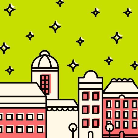 Анимация Олени везут Санта Клауса над домами в небе усеянного звездами, елка с игрушками и подарками под елкой