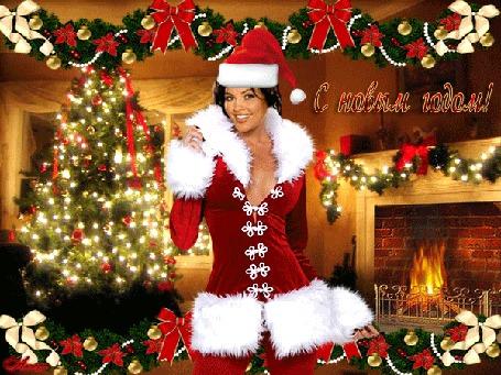 Анимация Девушка-снегурочка на фоне новогодней елки, горящего камина, новогодних гирлянд (С Новым Годом!) by Люсси
