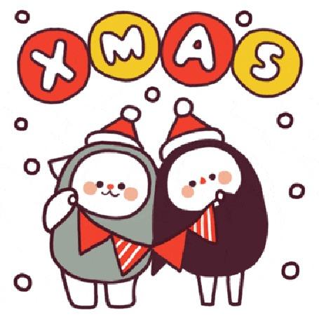 Анимация Котенок и пингвин поздравляют с Рождеством (XMAS)