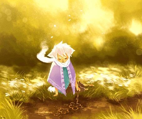 Анимация Мальчик-лис рисует цветы на земле, by nk-illustrates