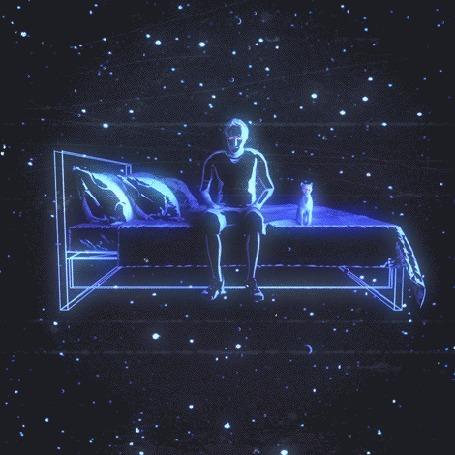 Анимация Мужчина с кошкой на кровати летят на фоне звездного неба