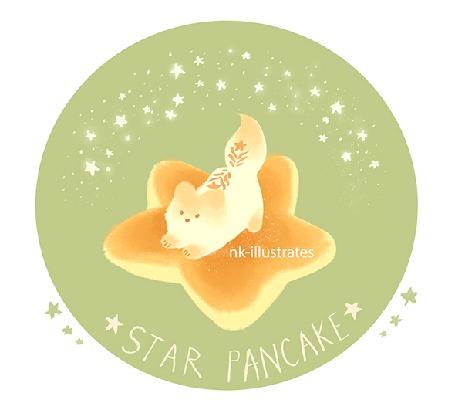 Анимация Лисичка на панкейке в форме звезды, by nk-illustrates (STAR PANCAKE)