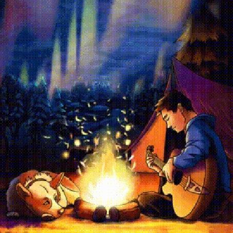 Анимация Ночью в лесу у костра лежит пес и парень играет на гитаре