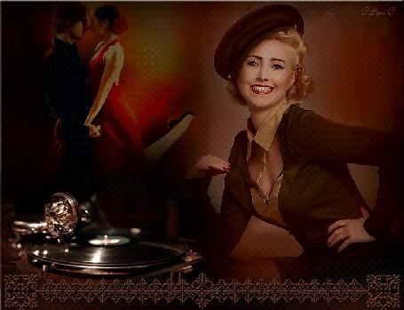 Анимация Блондинка сидит у играющего патефона на фоне танцующих мужчины и женщины в красном платье