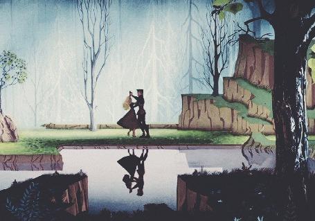 Анимация Парень с девушкой танцуют у реки