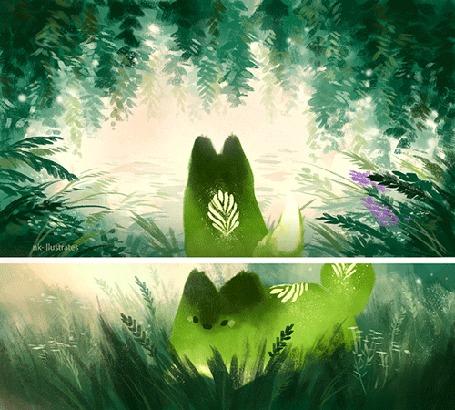 Анимация Зеленая лисичка в траве и у воды, by nk-illustrates