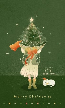 Анимация Девочка с подарочной елкой стоит рядом с котиком, (Счастливого Рождества), by Maoi