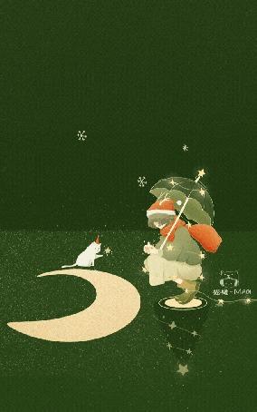Анимация Девочка в новогодней шапке сидит под зонтом перед кошкой и месяцем, by Maoi
