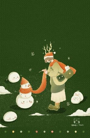 Анимация Девочка довязывает шарф снеговику, by Maoi