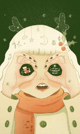 Анимация В глазах девушки елка и сапожек, by Maoi