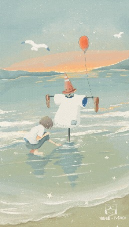 Анимация Девочка сидит на воде перед чучелом с воздушным шариком, by Maoi
