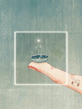 Анимация На пальце предмет с сияющей елкой, by Maoi