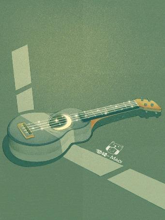 Анимация Гитара с месяцем, by Maoi
